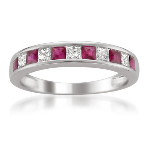 14k White Gold Princess-cut Diamond and Red Ruby Wedding Band Ring (5/8 cttw, H-I, I1-I2), Size 6 (Diamond Ruby Ring Mens)
