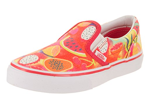 Vans Kids Classic Slip-On (Glitter Fruits) Multi/True White Casual Shoe 1 Kids (Vans Slip Ons Girls)