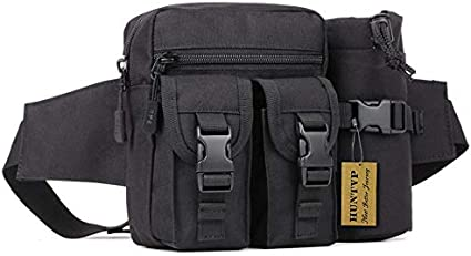 Canvas Mesh Water Bottle Holder Belt Carrier Pouch Hiking Camping Molle Bag