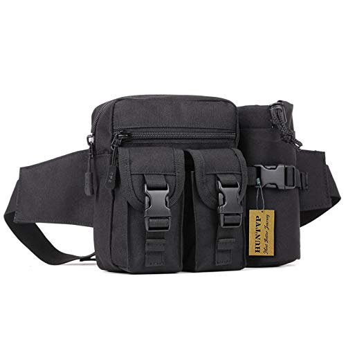 Waist Belt Bottle Pocket - Huntvp Tactical Waist Pack Pouch with Water Bottle Pocket Holder Waterproof Molle Fanny Hip Belt Bag