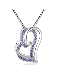 MBLife 925 Sterling Silver Double Heart Pendant Necklace (16 Inches)