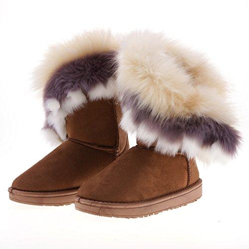 Damen Modischen Winter Warmen Schnee Flachen Knöchel Pelz Schnee Stiefel Schuhe (39, Braun) Oyedens