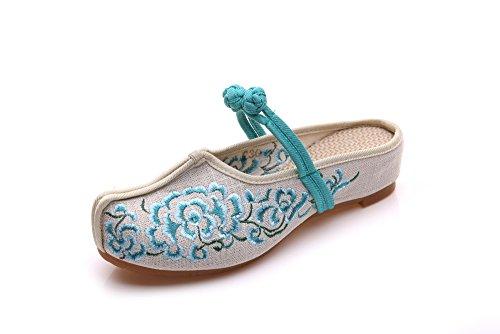 WXT Zapatos bordados, lenguado de tendón, estilo étnico, flip flop femenino, moda, cómodo, sandalias Green