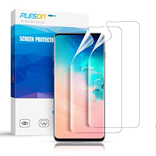 Pleson Galaxy S10 Screen Protector [Lifetime Replacement] [Case Friendly] [2 Pack] Full Coverage, [Exclusively New Installation] Bubble Free/HD Clear Screen Protector for Samsung Galaxy S10