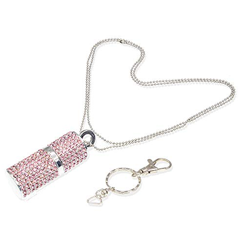64GB Thumb Drive Necklace USB 3.0 Flash Drive Pink Crystal Jump Drive, Bling Diamond Zip Drive 64 GB Jewelry Pen Drive Creastive Memory Stick, Cute Data Storage Gift by - Flash Drive Bling