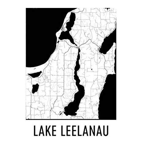 (Lake Leelanau Michigan, Lake Leelanau MI, Traverse City Map, Michigan Decor, Lake Map, Leelanau Lake Art, Art, Cottage Decor, Leelanau Poster 12