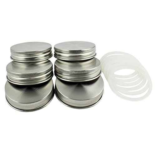 Zoie + Chloe Stainless Steel Mason Jar Lids with Silicone Seals (6 Pack + 6 Bonus Replacement Seals)