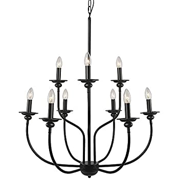 Elk 289 ob hartford 9 light chandelier 28 inch oil rubbed laluz 9 light traditional chandelier lighting 2 tier pendant lights chandeliers aloadofball Images