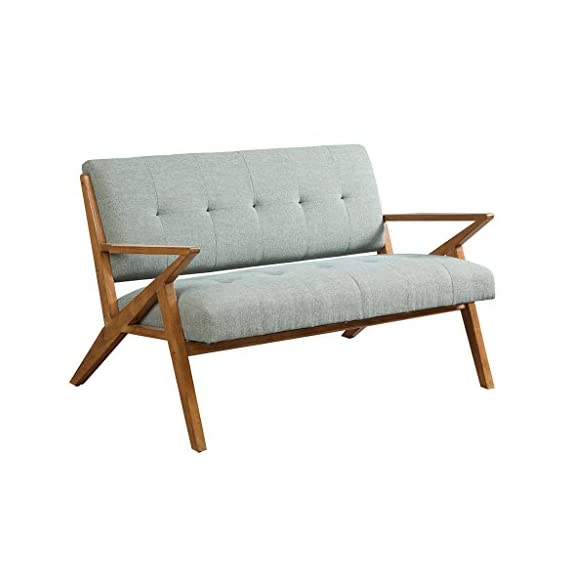 ModHaus Living Mid Century Modern Rocket Tufted Seafoam Upholstered Loveseat with Solid Wood Frame - Includes Pen - Inspired by the iconic 60's silhouettes with a modern twist of finishes and unique shapes gives an updated look. Refresh and add to your mid century decor. Assembly required. Measurement: 54 x 31.5 x 33 inches. Includes: 1 Loveseat. Floor to Seat Height: 18 in. Item Weight: 60.63 lbs. - sofas-couches, living-room-furniture, living-room - 41QvYyjrbZL. SS570  -