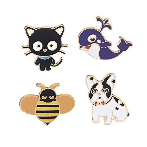 OAONNEA Enamel Lapel pin Set 5 Piece Cartoon Brooch pin for Girls Jewelry (cat Dog Bees)
