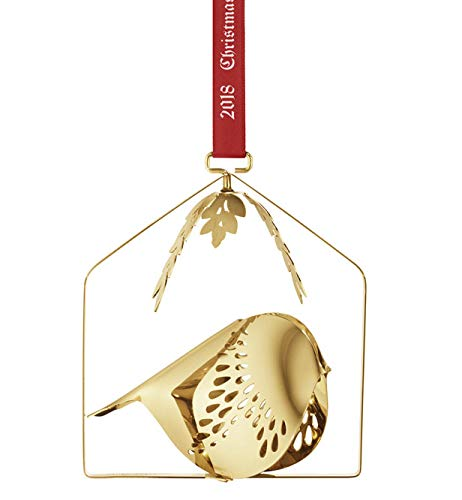 (Georg Jensen Annual Christmas Ornament 2018, Winter Bird (Gold Plated))