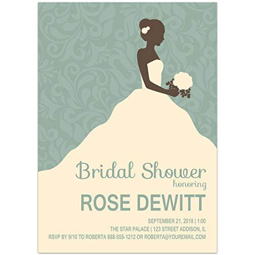Wedding Dress Teal Brocade Bridal Shower Invitations (Brocade Bridal Shower)