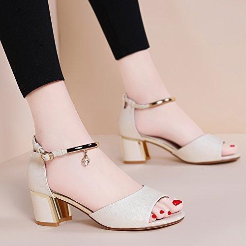 Tacón Beige Medio Mujer Zapatos Hebillas Tacones Sandalias Gruesos Estudiantes HBDLH Sexy Verano Bromeando De qBtIO8w