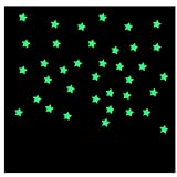Shensee 100PC Kids Bedroom Fluorescent Glow In The Dark Stars Wall Stickers Blue