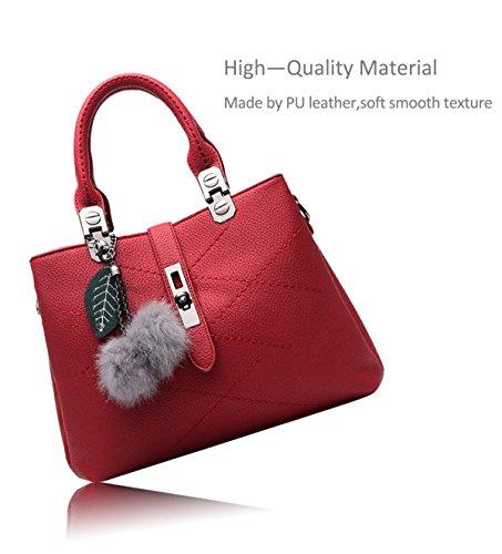Minetom Damen Lady Neu Leder Welle Paket Kuriertasche Weiblichen Beutel Handtaschen für Frauen Schultertasche Office Satchel Tote für Frauen Weinrot