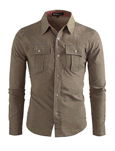 Allegra K Men Point Collar Chest Flap Pockets Button Down Shirt Khaki (Flap Pocket Shirt)