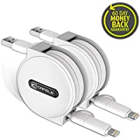 Retractable charging Cable, fast safe Lightning Micro USB 2 in 1 powerline cord iPhone Charger Cable (2- Pack,White,5ft)