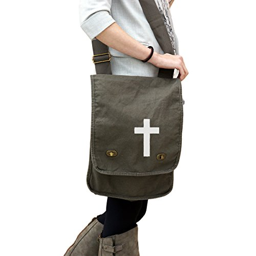 - Religious Christian Cross Silhouette 14 oz. Authentic Pigment-Dyed Canvas Field Bag Tote Green