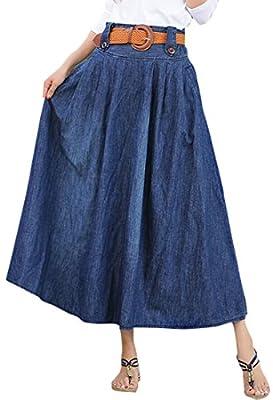 CRYYU Women Flare Elastic Waist Pleated Plus Size Denim Long Skirt