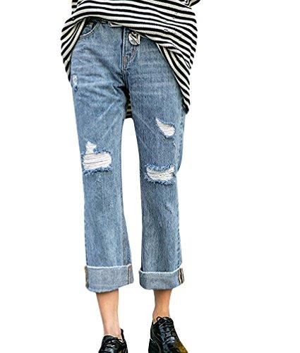 Blu Denim Strappati Strappato Chiaro Larghi Pantaloni Boyfriend Matita Zhiyuanan Donna Fit Rotti Casual Moda Jean Baggy Jeans Loose fFn8qwan