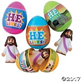 "Fun Express - He is Risen Jesus Toy-Filled Plastic Easter Eggs ,Color - Multi Colored, Size - 2 1/2"" egg , 2"" Jesus - Set Of 12"