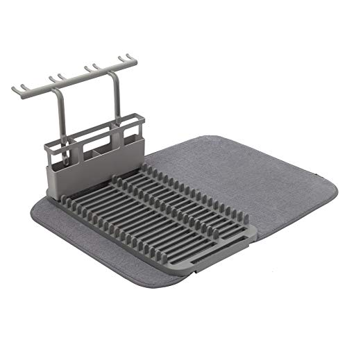 Umbra UDRY Rack and Microfiber Dish Drying Mat, Deluxe, Charcoal