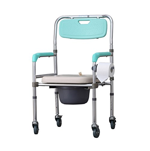Movable Height Adjustable Folding Aluminum Commode Chair Toilet Chair Shower Chair with Detachable Toilet Tissue Bracket