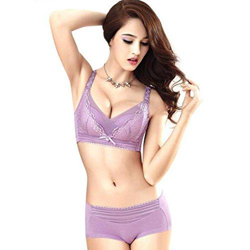 Heart&M Sous-vêtements féminins ensembles culottes et soutien-gorge en dentelle deux pièces jantes , purple , 85b