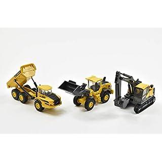 New Ray Volvo Window Box 32095 Construction Equipment Set of 3 Yellow