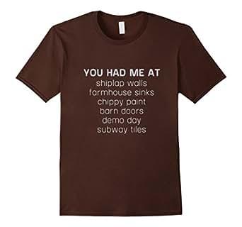 Mens You Had Me At Shiplap Walls Handy T-Shirt 2XL Brown
