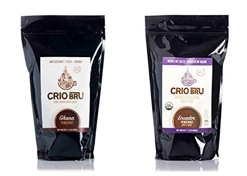 Crio Bru 2 Pack 24 oz French Roast Bundle | Organic Healthy Brewed Cacao Drink | Great Substitute to Herbal Tea and Coffee | 99% Caffeine Free Gluten Free Keto Whole-30 Honest Energy (24oz (2 Pack))