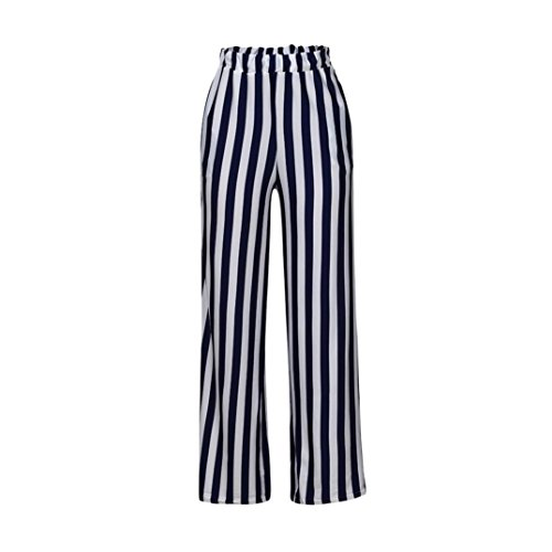 Womens Elegant Belted Striped High Waisted Split Flowy Wide Leg Pants x-Large - 66 Split Block