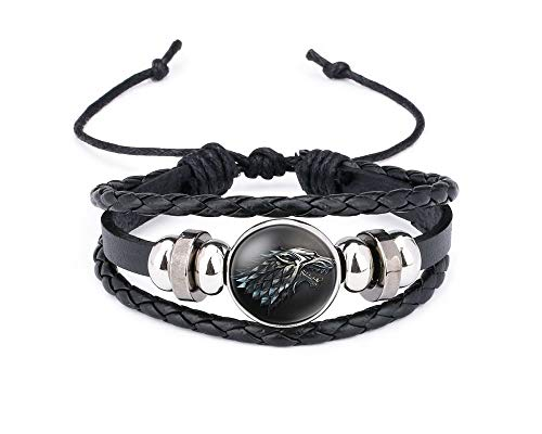 JOYID Vintage Braided Woven Wolf Bracelet Glass face Rope Leather Love Lucky Bracelet Fashion Jewelry for Women Man-Syle 2