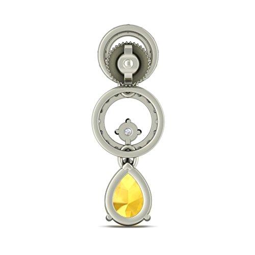 14K Or blanc 0,6carat au total Round-cut-diamond (IJ | SI) et citrine Pendants d'oreilles