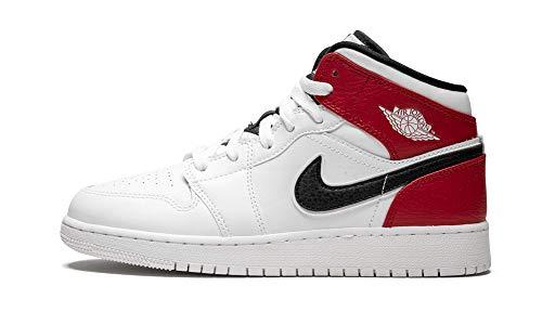 Jordan 554725-116: Big Kid's Jordan 1 Mid White/Black/Gym Red Sneakers (4 M US Big Kid) -