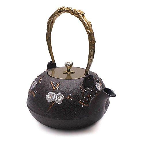 Cast Iron Teapot Iron Tea Kettle Flower Iron Teapot Chinese Classic Teapot (1.4L/60oz)