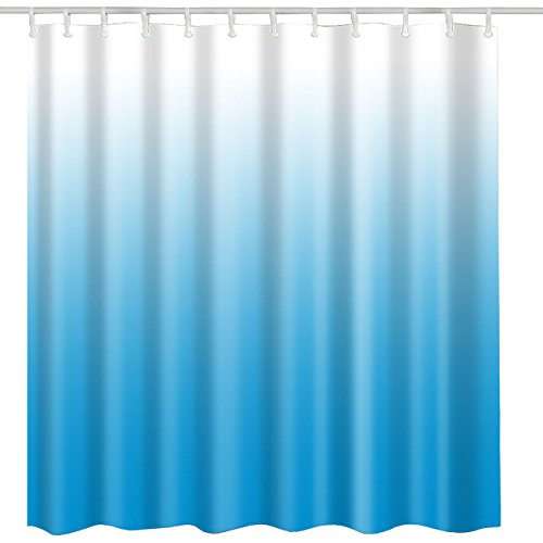 BROSHAN Blue Ombre Shower Curtain,Modern Blue Fashion Art Print Home Hotel Beautiful Decorative Bath Curtain,Polyester Waterproof Bathroom Decor Set with Hooks,72x72 Inch Long,White,Blue by BROSHAN (Image #3)