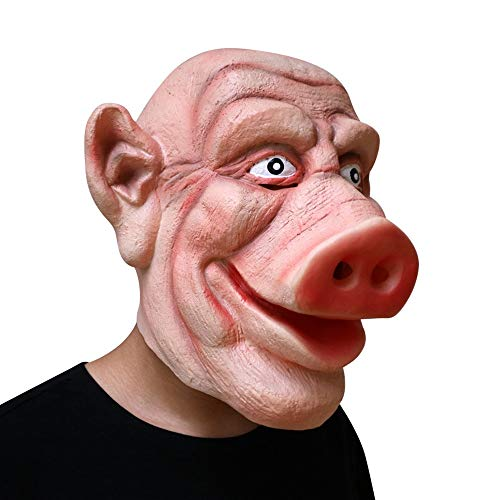 CHAI Halloween Latex Mask Horror Funny Pig Head Headgear Bar Dance Party Cosplay Scary Show Funny Props ()