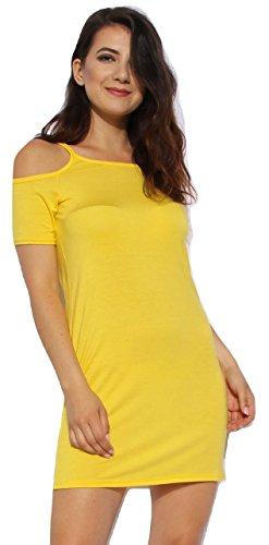 Momo&Ayat Fashions Ladies Jersey Lightweight Cold Shoulder Cami Bodycon Dress US Size 4-10 (Lemon, US 10 (UK 14)) from Momo&Ayat Fashions