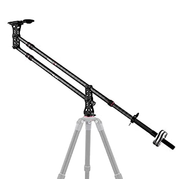 Image of Camera Cranes KINGJOY 82.7 inches Carbon Fiber Jib Arm Camera Crane with 1/4 and 3/8-inch Quick Shoe Plate, 360 Degree Pan Ball Head, Counter Weight for DSLR Video Cameras, Load up to 17.6 lbs, VM-301C