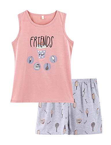 Girls Tank Top and Shorts Pajamas - Tween & Teens PJS Big Kids Cute Sleepwear Ice Cream Size 18]()