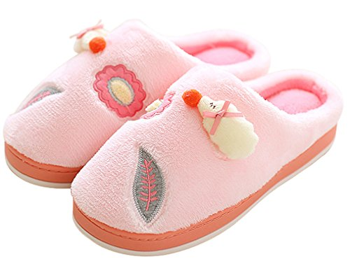 Blubi Womens Cartoon Embroidery Flannel Cozy Slippers Cute Indoor Slippers Pink tioMgXj