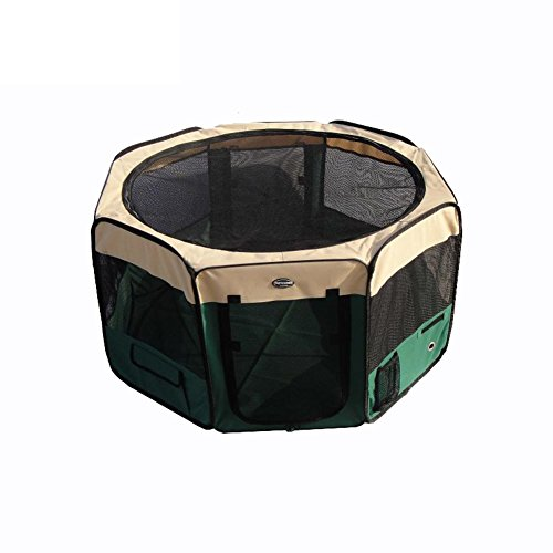 SL&ZX Portable dog tent,Washable dog cage doghollow foldable house outdoor travel pet fence dog house breathable kennel-green 110x110x62cm(43x43x24inch)