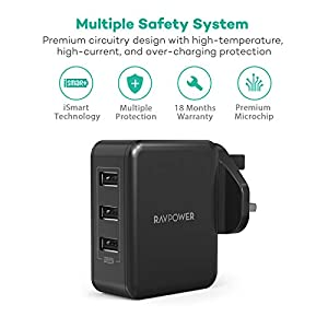 RAVPower USB Wall Charger 30W USB Plug Chargers 3-Port Mains Adapter Plug Power Adapter for iPhone 11 Pro X Xr XS Max Galaxy S Note 10+ iPad Pro 2018 – Black