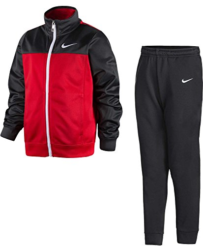NIKE Little Boys' Futura Tricot Jacket and Pants Set (Anthracite (86B442-693)/University Red, 6)