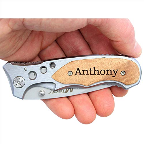 MTech MT423 Laser Engraved Personalized Pocket Knife, Valentines Day Gifts for Husband, Dad