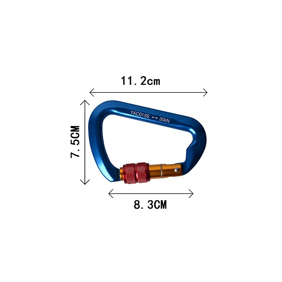 SUNKY Aluminum Locking Carabiner, Screw Lock Climbing D Shape Spring Clip Hook Buckle Home RV Camping Fishing Hiking Traveling