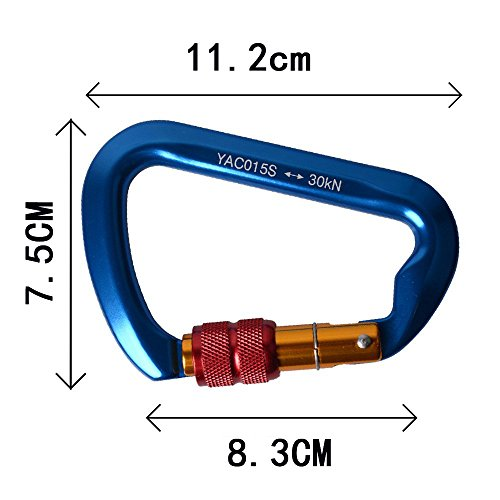 SUNKY Aluminum Locking Carabiner, Screw Lock Climbing D Shape Spring Clip Hook Buckle for Home RV Camping Fishing Hiking Traveling