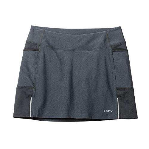 (Terry Fixie Skort Women's Cycling Athletic Sport Skirt Stretch Wrap with Padded Chamois Liner Bike Shorts - Black Pepper -)