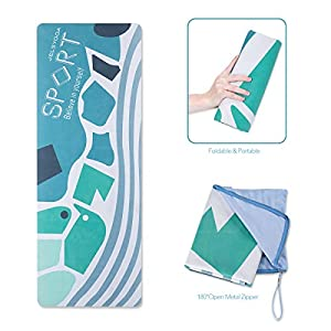 JELS Yoga Travel Mat -1.5mm Thin Folding Hot Yoga Mat with Carrying Bag Non Slip Sweat Absorbent Quick Dry Print Yoga…